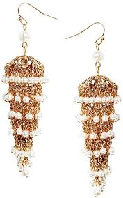 talullah tu talullah tu faux pearl statement chandelier earrings gold