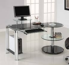 post glass home office desks. Picture Of Cool Computer Desk Made From Glass Design And Beautiful Bookshelves Feat Hanging Keyboard Rack Idea Post Home Office Desks O