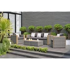 mustang 5 piece all weather wicker patio conversation set with grey color cushions