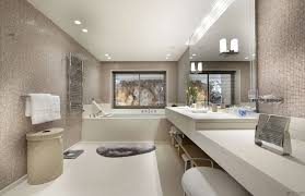 bathroom designs. Bathroom. Interesting Modern Bathroom Design With Rectangular Bath Tub Plus White Vanity Unit Also Wooden Designs