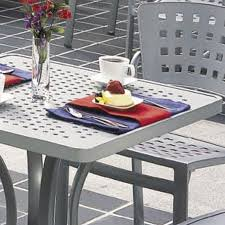 Commercial outdoor dining furniture Steel Modern Patterned Outdoor Tables Tropitone Patterned Aluminum Tables Boulevard Aluminum Table Tropitone