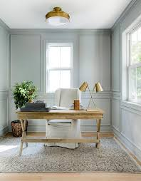 home office light. Light Gray Paneled Home Office With Wood X Based Desk