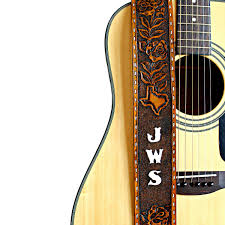 custom hand tooled leather guitar strap