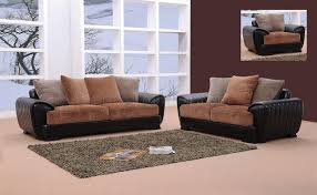 Two Tone Living Room Furniture Berlin Brown Black Microfiber Leather Living Room Set