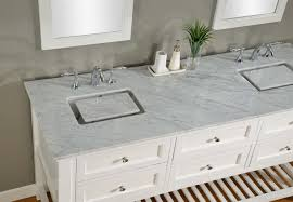 70 pearl white mission spa double vanity sink cabinet with carrera white marble
