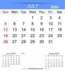 June July 2020 Calendar Free Printable July 2020 Calendar