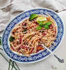 rice noodles and rainbow veggie stir