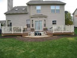Columbus deck with floating bench Columbus Decks Porches and