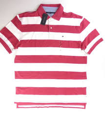 men s tommy hilfiger striped polo shirt white strawberry sz l