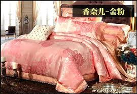 rose gold comforter set queen luxury gold pink lace satin jacquard bedding set for king queen rose gold
