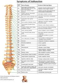 Vertebral Subluxation Chart Depending On Where The Subluxation Is Located You Can Use