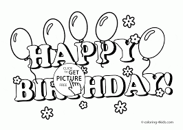 Small Picture Happy Birthday Card with Flowers and Balloons coloring page for
