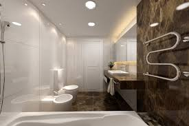 modern bathroom white. Bathroom:Inspirational Modern Bathroom Design Ideas With Brown Marble Wall Also Chrome Towel Hanger Plus White D