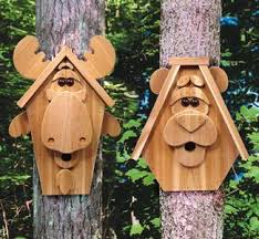 Birdhouse Patterns Impressive DIY Moose Bear Birdhouse Moose Bear Wood Craft Patterns