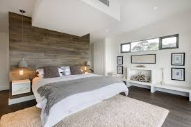 Bedroom White Rug White Bed Cover Round Grey Pendand Lightings Brown Wooden  Floor Natural Wooden Wall