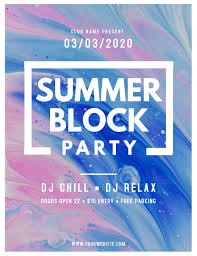 Block Party Flyers Templates Watercolor Themed Summer Block Party Flyer Template