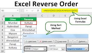 Excel Reverse Order Top 3 Ways To Reverse Order Of Row