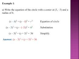 example 1 a write the equation of the circle with a center at