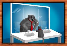 mirror image. new print: bob looks in the mirror - oatmeal image