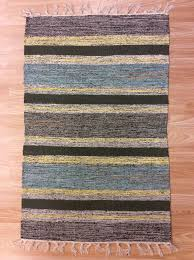 striped blue yellow handloomed 100 cotton rag rug durrie cotton rag rugs 8 x 10