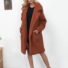 2019 woman woolen coat las winter warm plush faux fur suit collar long coat thick fur casual outerwear camel overcoat plus from wenshicu