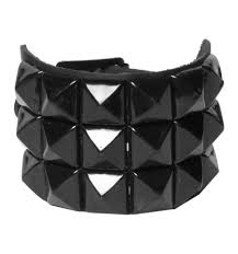 3 row black metal pyramid spike bracelet
