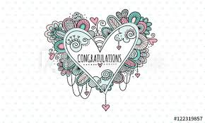 word of congratulations congratulations heart hand drawn doodle vector heart doodle