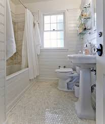 bathroom with white marble mosaic tile floor