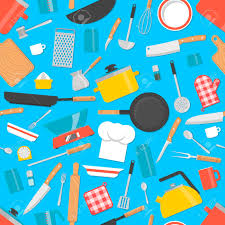Kitchen Tools Seamless Pattern Cooking Utensils Background