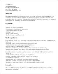 Automotive Resume Template Best of Professional Entry Level Automotive Technician Templates To Showcase