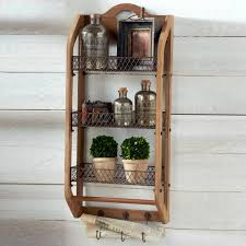 wood wall organizer with 3 tray shelves and hooks