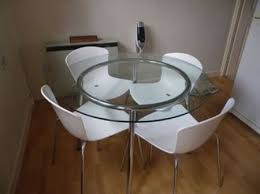 glass dining table ikea. dining room:small room decor with round glass table and white chairs ikea :