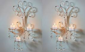 com set of wall chandelier candle holder sconce shabby