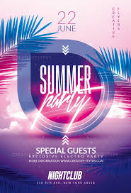 Summer Party Flyer With Neon
