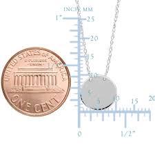 14k white gold mini engravable disk pendant necklace 16 to 18 adjustable