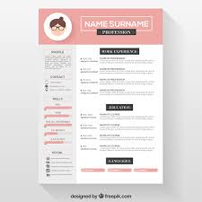 Pink Resume Template Vector Free Download