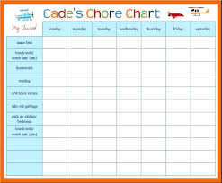 chore chart template for teenagers printable blank weekly potty chart printable template