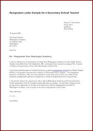 resigning letter format sendletters info resignation letter sample for a secondary school teacher by docbase