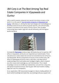 Ijm Organization Chart Top Real Estate Companies In Vijayawada Guntur Ijm India