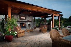 image of kitchen outdoor fireplace designs