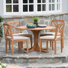 belham living brighton outdoor wood round patio dining set seats 4 hayneedle
