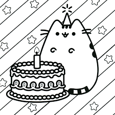 Birthday Cat Coloring Pages With Pusheen Coloring Book Pusheen