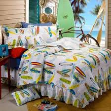 Beach Bedding | We Buy Cheaper & White Blue Orange Red Yellow Teens Full 6 Piece Surfing Surfboard Quilt Set Adamdwight.com