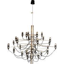 arteluce 2097 30 chandelier in chromed steel gino sarfatti 1958