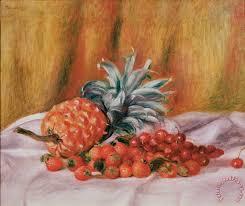 pineapple painting. strawberries and pineapple painting - pierre auguste renoir art print r