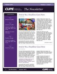 newsletter template for pages newsletter templates canadian union of public employees