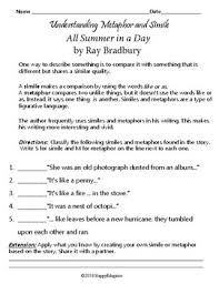 Figurative Language Chart Printable All Summer In A Day By Ray Bradbury Figurative Language Worksheets And Chart