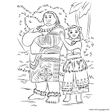 Moana And Maui Forest Coloring Pages