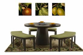 round dining table bench photo 1