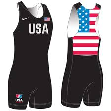 Nike Usa Wrestling Grappler Singlet Black Blue Chip